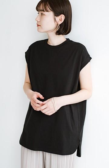 haco! 大人のTシャツこれならいける?!ちょい袖でかっこよく見せるTシャツ by que made me + PBP<ブラック>の商品写真