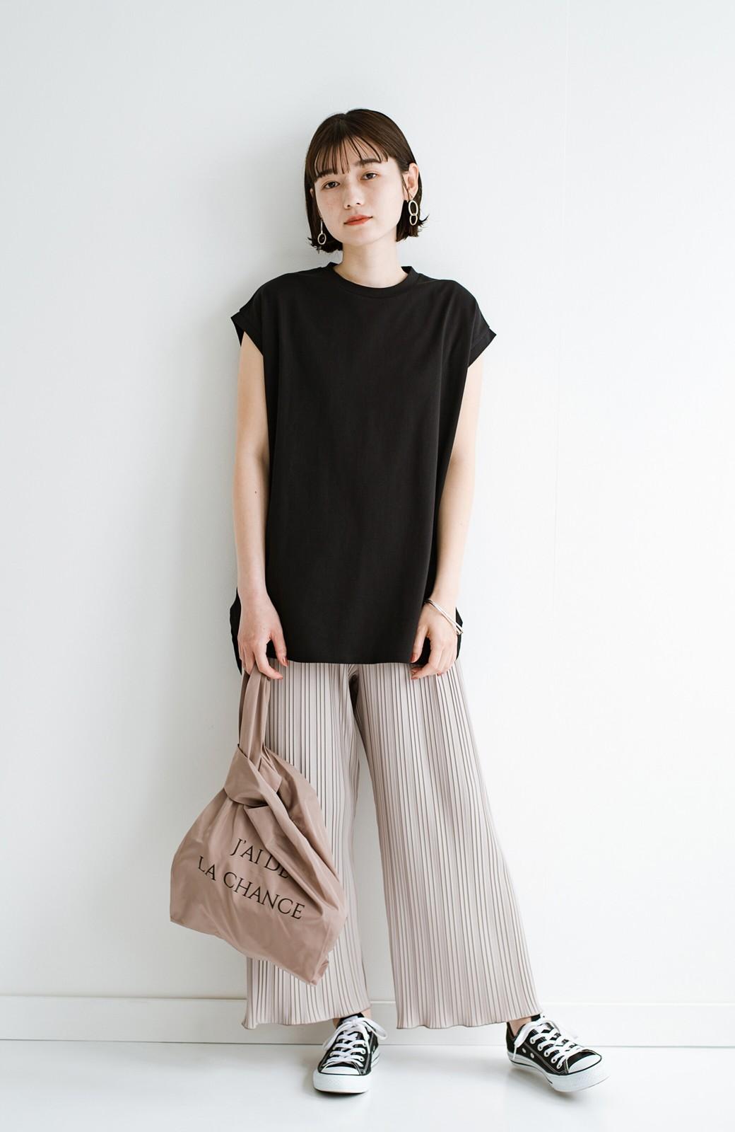 haco! 大人のTシャツこれならいける?!ちょい袖でかっこよく見せるTシャツ by que made me + PBP <ブラック>の商品写真7