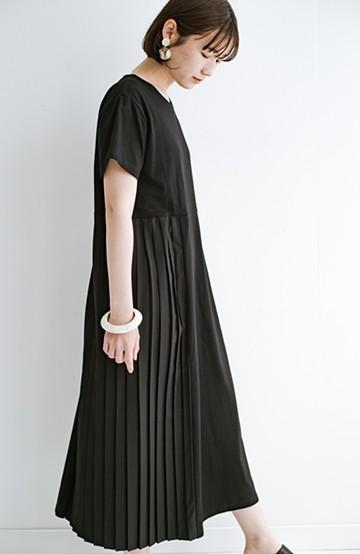 haco! ぱっと着るだけでこなれたレイヤード風コーデが完成する サイドプリーツワンピース <ブラック>の商品写真