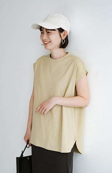 haco! 大人のTシャツこれならいける?!ちょい袖でかっこよく見せるTシャツ by que made me + PBP<ベージュ>の商品写真