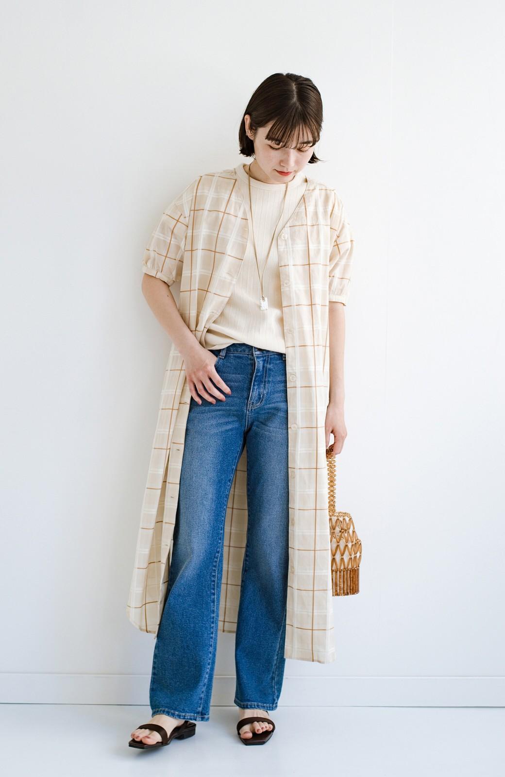 haco! 1枚でも羽織っても様になるベルト付きワンピースとインナーキャミワンピースセット <ライトベージュ>の商品写真3
