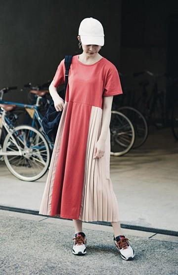 haco! ぱっと着るだけでこなれたレイヤード風コーデが完成する サイドプリーツワンピース <テラコッタ>の商品写真