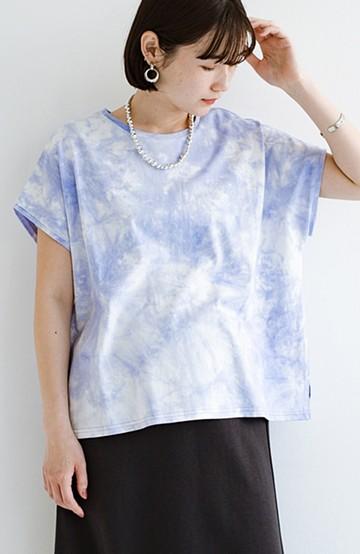 haco! 定番コーデをアップデート!落ち着いた配色が大人っぽいタイダイ柄Tシャツ <ライトブルー>の商品写真
