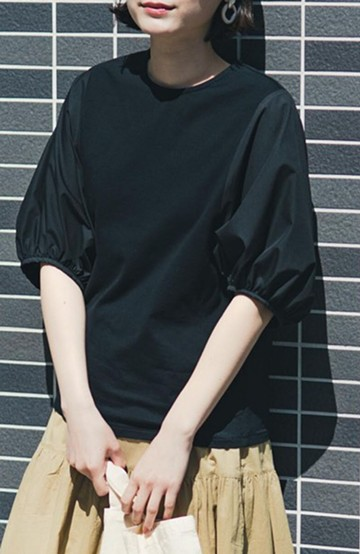 haco! Tシャツの代わりにこれ着とこう!二の腕隠してかわいげ増します!ちょうちん袖トップス by que made me <ブラック>の商品写真