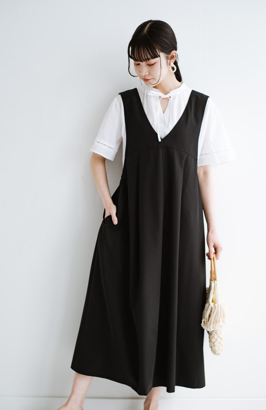 haco! 長め丈登場!Tシャツにもニットにもずーーーっと着られて便利なジャンパースカート <ブラック>の商品写真8