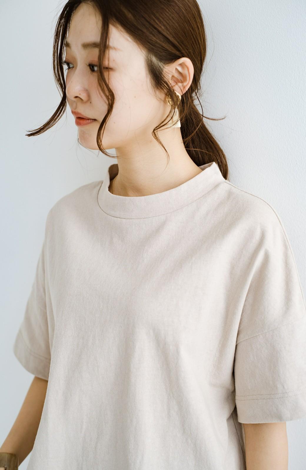 haco! じゃぶじゃぶ洗えて毎日づかいに便利!コーデに迷わず便利なモックネックTシャツ <ベージュ>の商品写真4