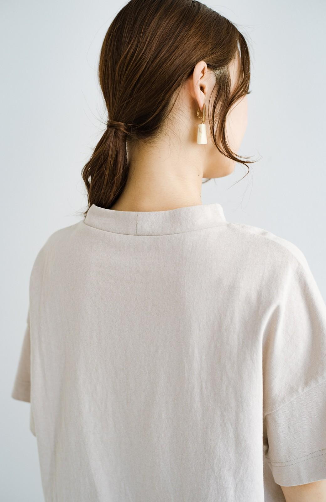 haco! じゃぶじゃぶ洗えて毎日づかいに便利!コーデに迷わず便利なモックネックTシャツ <ベージュ>の商品写真8
