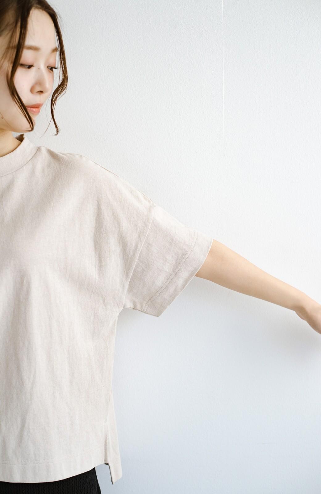 haco! じゃぶじゃぶ洗えて毎日づかいに便利!コーデに迷わず便利なモックネックTシャツ <ベージュ>の商品写真6