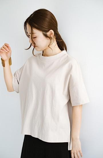 haco! じゃぶじゃぶ洗えて毎日づかいに便利!コーデに迷わず便利なモックネックTシャツ<ベージュ>の商品写真