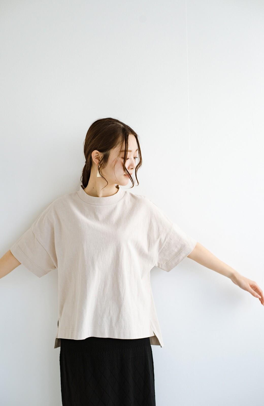 haco! じゃぶじゃぶ洗えて毎日づかいに便利!コーデに迷わず便利なモックネックTシャツ <ベージュ>の商品写真5