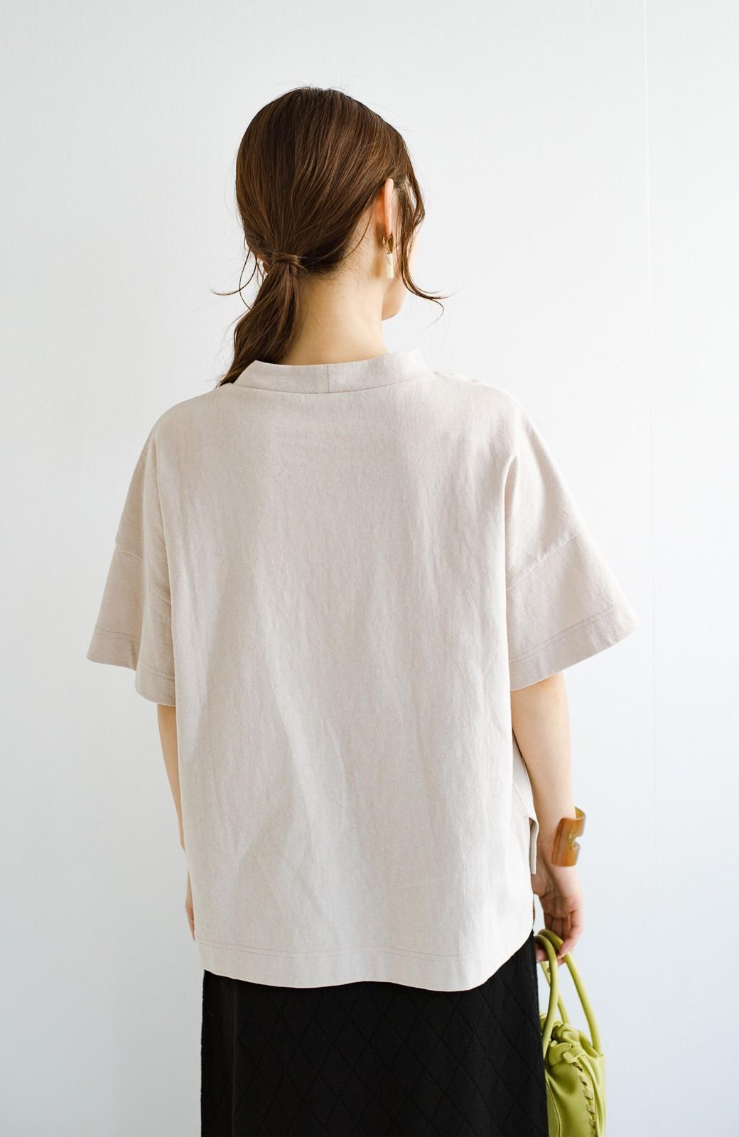 haco! じゃぶじゃぶ洗えて毎日づかいに便利!コーデに迷わず便利なモックネックTシャツ <ベージュ>の商品写真16