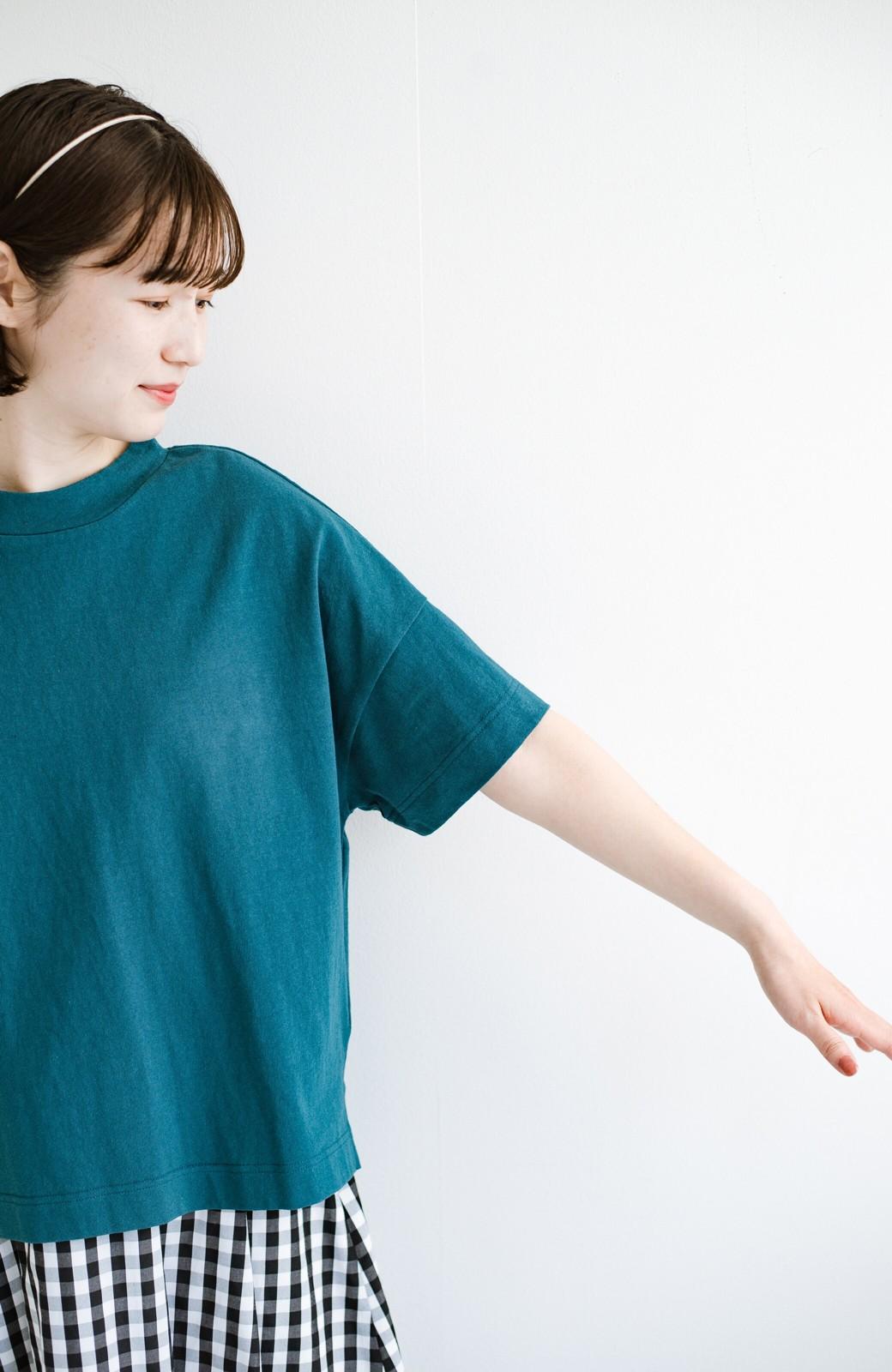 haco! じゃぶじゃぶ洗えて毎日づかいに便利!コーデに迷わず便利なモックネックTシャツ <ブルー>の商品写真5