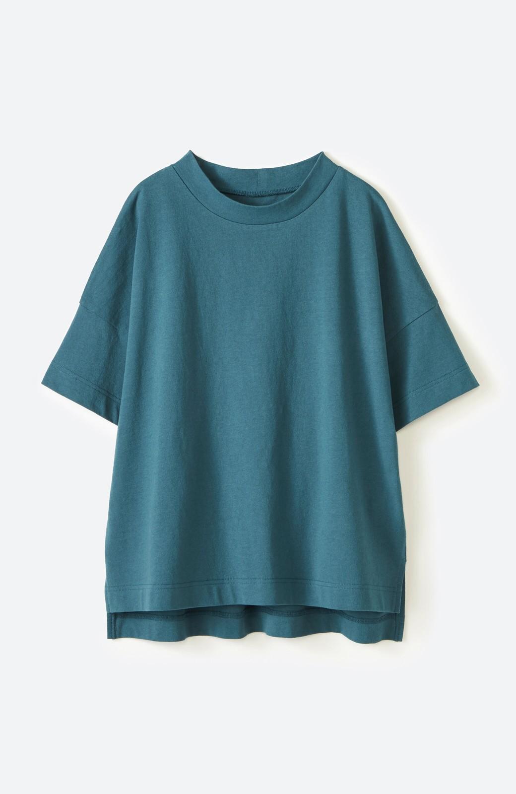 haco! じゃぶじゃぶ洗えて毎日づかいに便利!コーデに迷わず便利なモックネックTシャツ <ブルー>の商品写真16