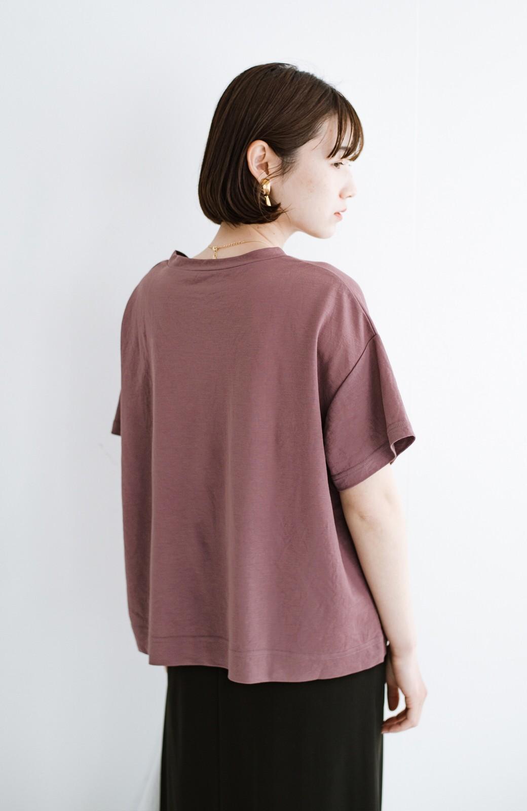 haco! カジュアル&きれいめバランスがちょうどいい!さらりと心地いい大人Tシャツ <スモークピンク>の商品写真9
