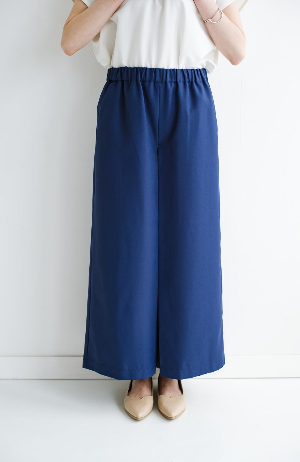 haco! スカート感覚でゆったりはけちゃう お仕事にも便利なきれいめタックワイドパンツ <ネイビー>の商品写真5
