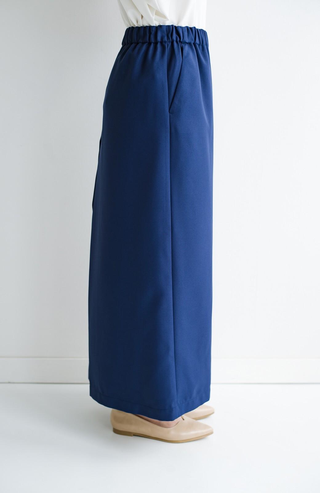 haco! スカート感覚でゆったりはけちゃう お仕事にも便利なきれいめタックワイドパンツ <ネイビー>の商品写真7