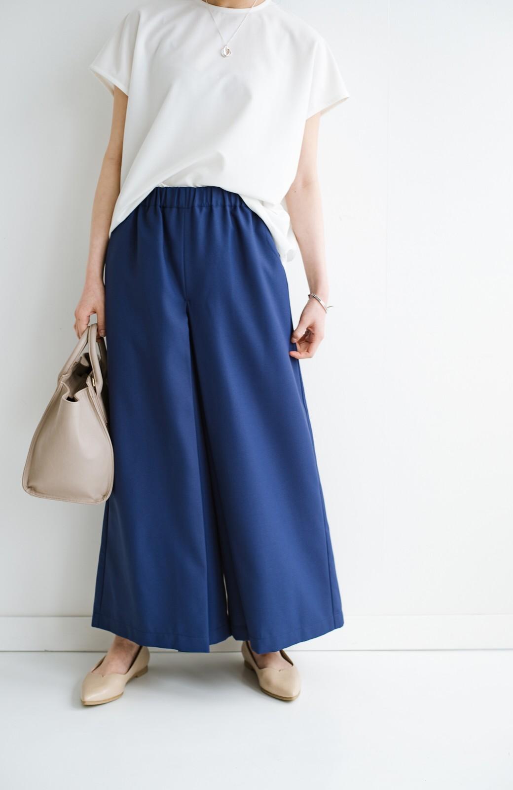 haco! スカート感覚でゆったりはけちゃう お仕事にも便利なきれいめタックワイドパンツ <ネイビー>の商品写真12