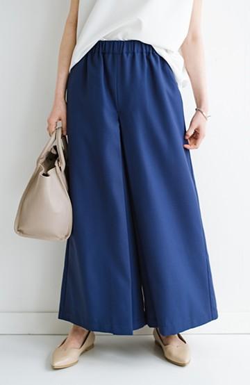 haco! スカート感覚でゆったりはけちゃう お仕事にも便利なきれいめタックワイドパンツ <ネイビー>の商品写真