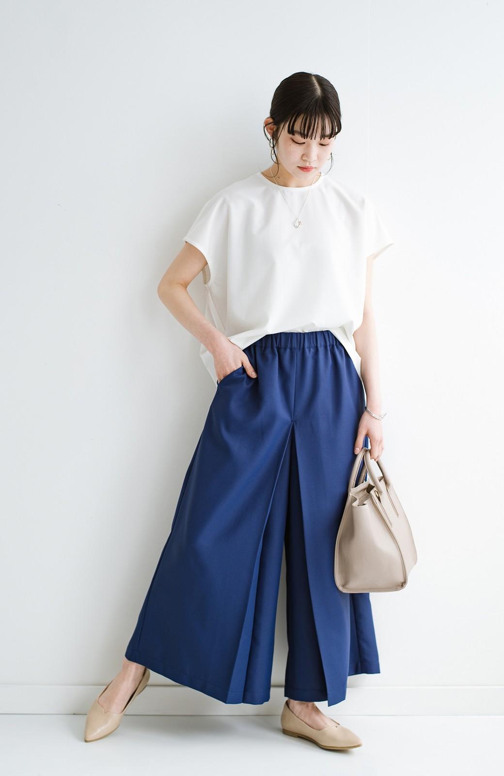 haco! スカート感覚でゆったりはけちゃう お仕事にも便利なきれいめタックワイドパンツ <ネイビー>の商品写真2