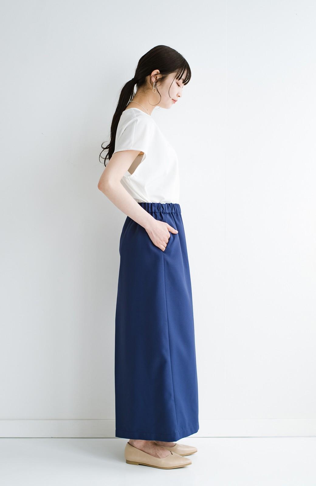 haco! スカート感覚でゆったりはけちゃう お仕事にも便利なきれいめタックワイドパンツ <ネイビー>の商品写真17