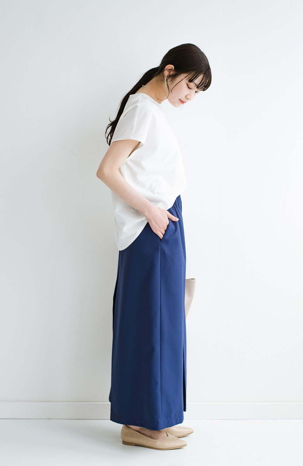 haco! スカート感覚でゆったりはけちゃう お仕事にも便利なきれいめタックワイドパンツ <ネイビー>の商品写真19