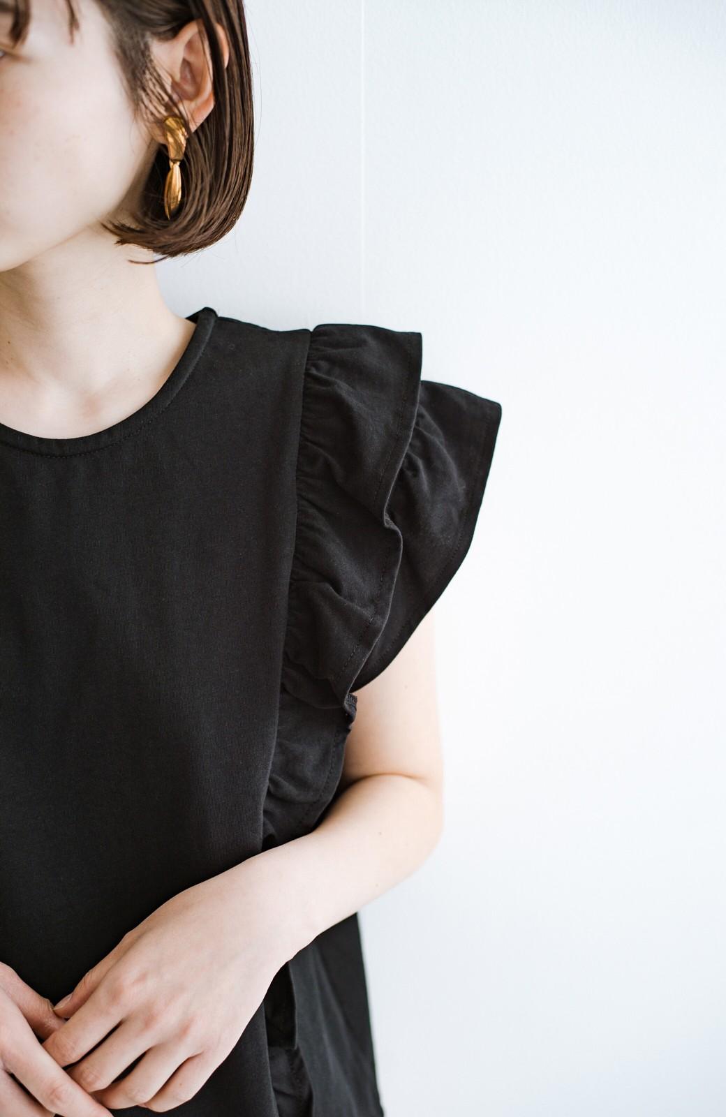 haco! (φ)顔周りぱっと華やか!Tシャツ感覚で着られて便利なフリルカットソートップス <ブラック>の商品写真7