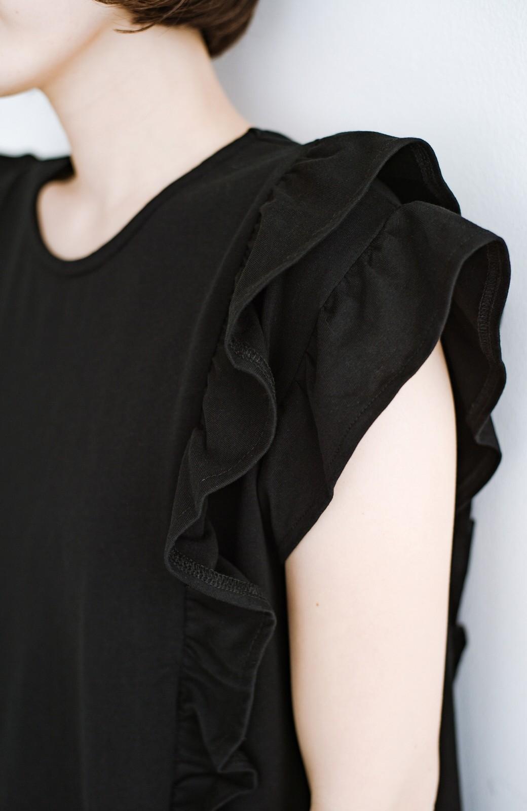 haco! (φ)顔周りぱっと華やか!Tシャツ感覚で着られて便利なフリルカットソートップス <ブラック>の商品写真8