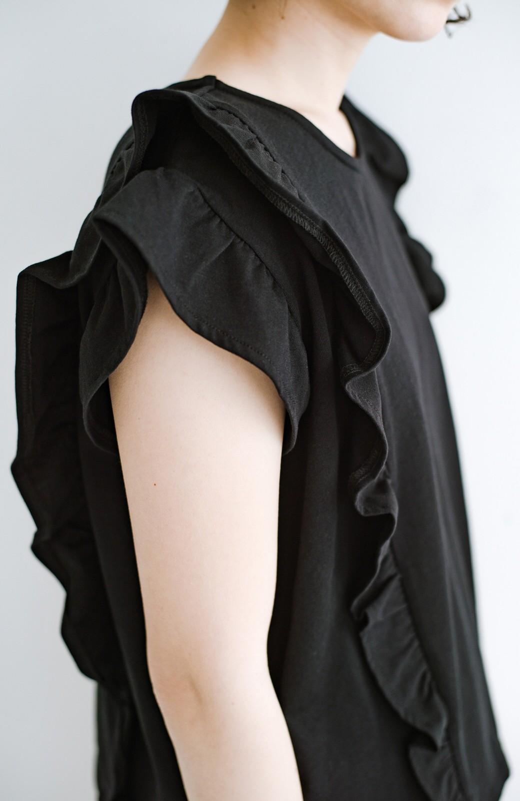 haco! (φ)顔周りぱっと華やか!Tシャツ感覚で着られて便利なフリルカットソートップス <ブラック>の商品写真10