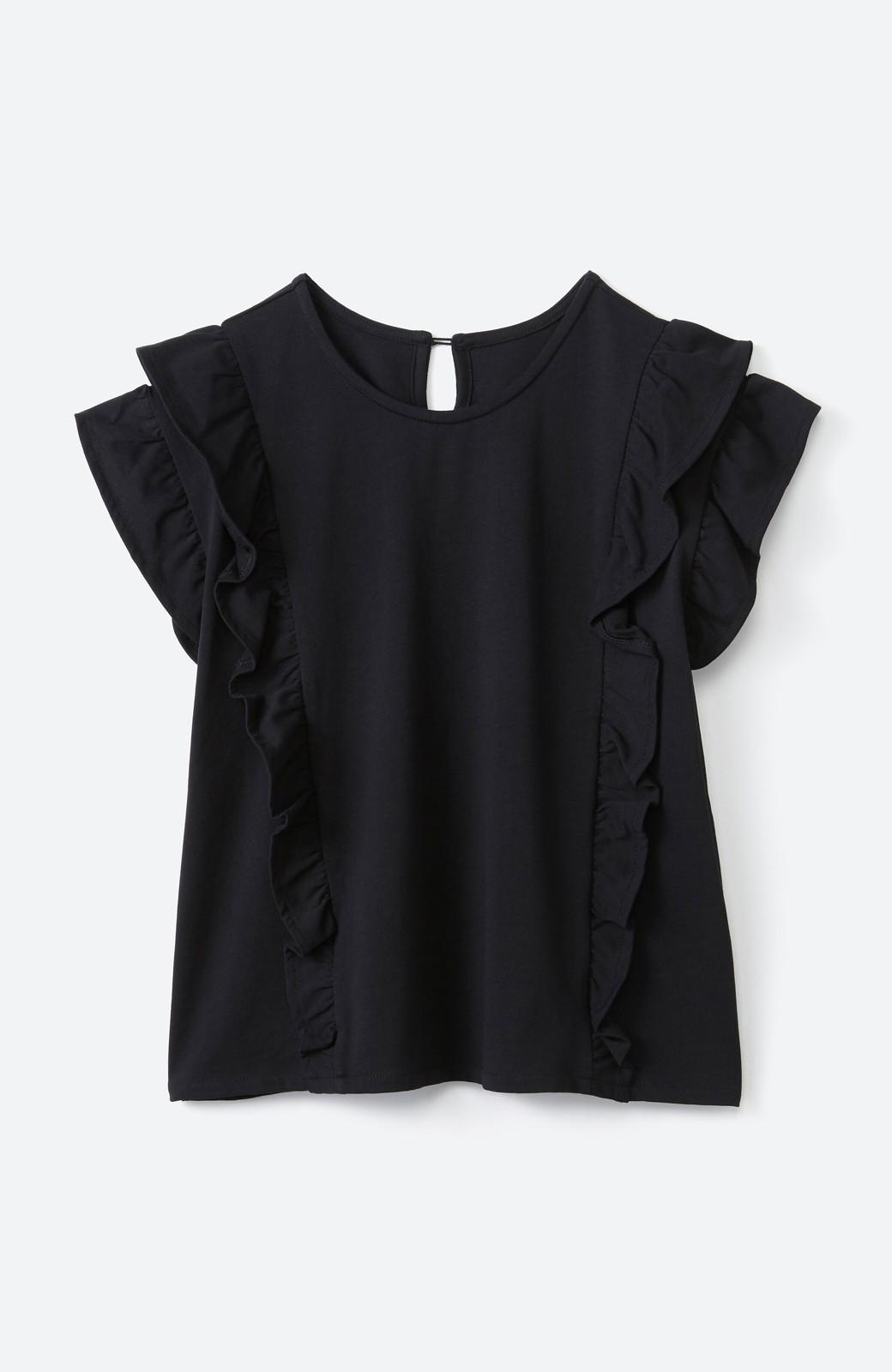 haco! (φ)顔周りぱっと華やか!Tシャツ感覚で着られて便利なフリルカットソートップス <ブラック>の商品写真6