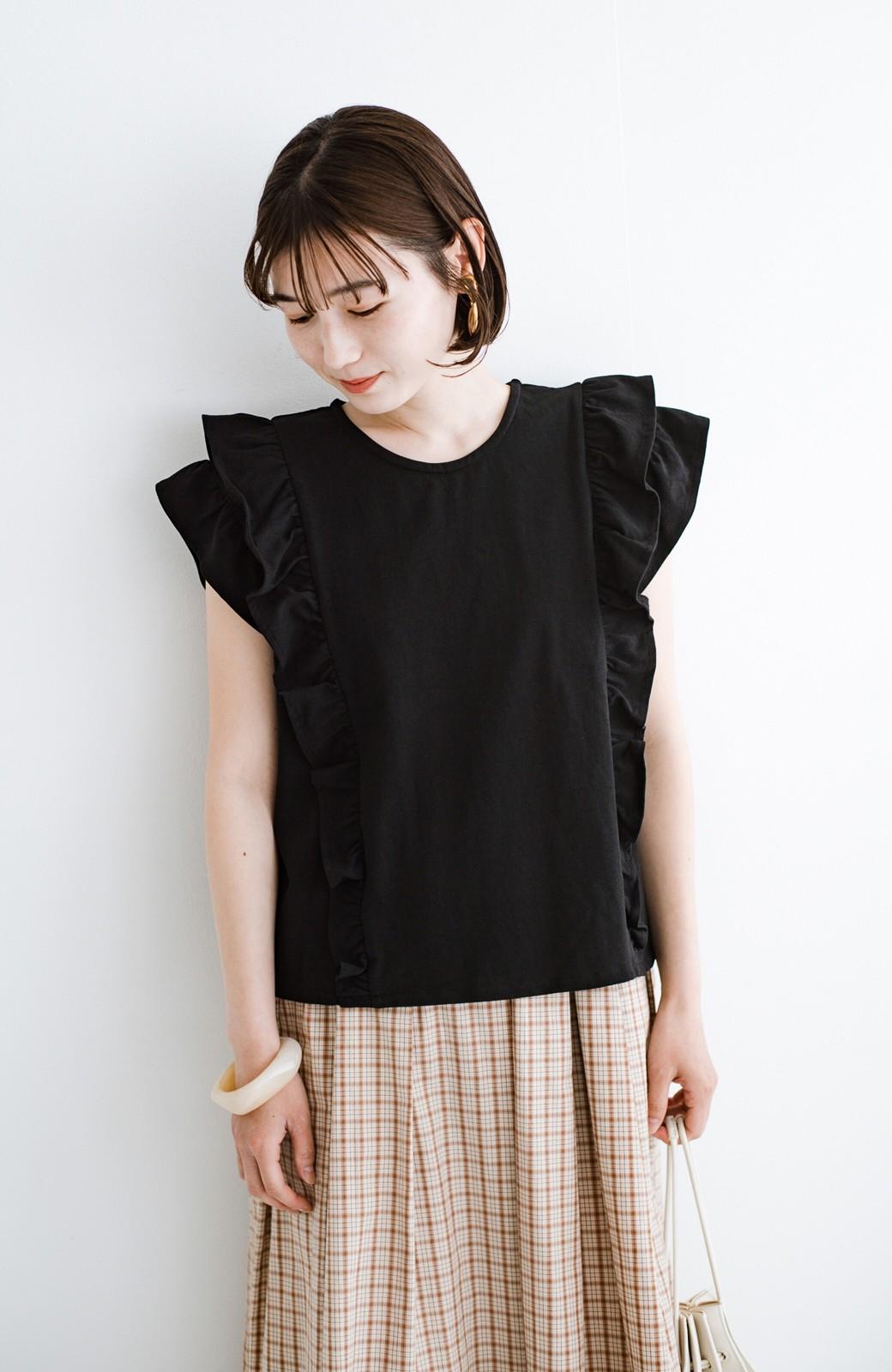 haco! (φ)顔周りぱっと華やか!Tシャツ感覚で着られて便利なフリルカットソートップス <ブラック>の商品写真17