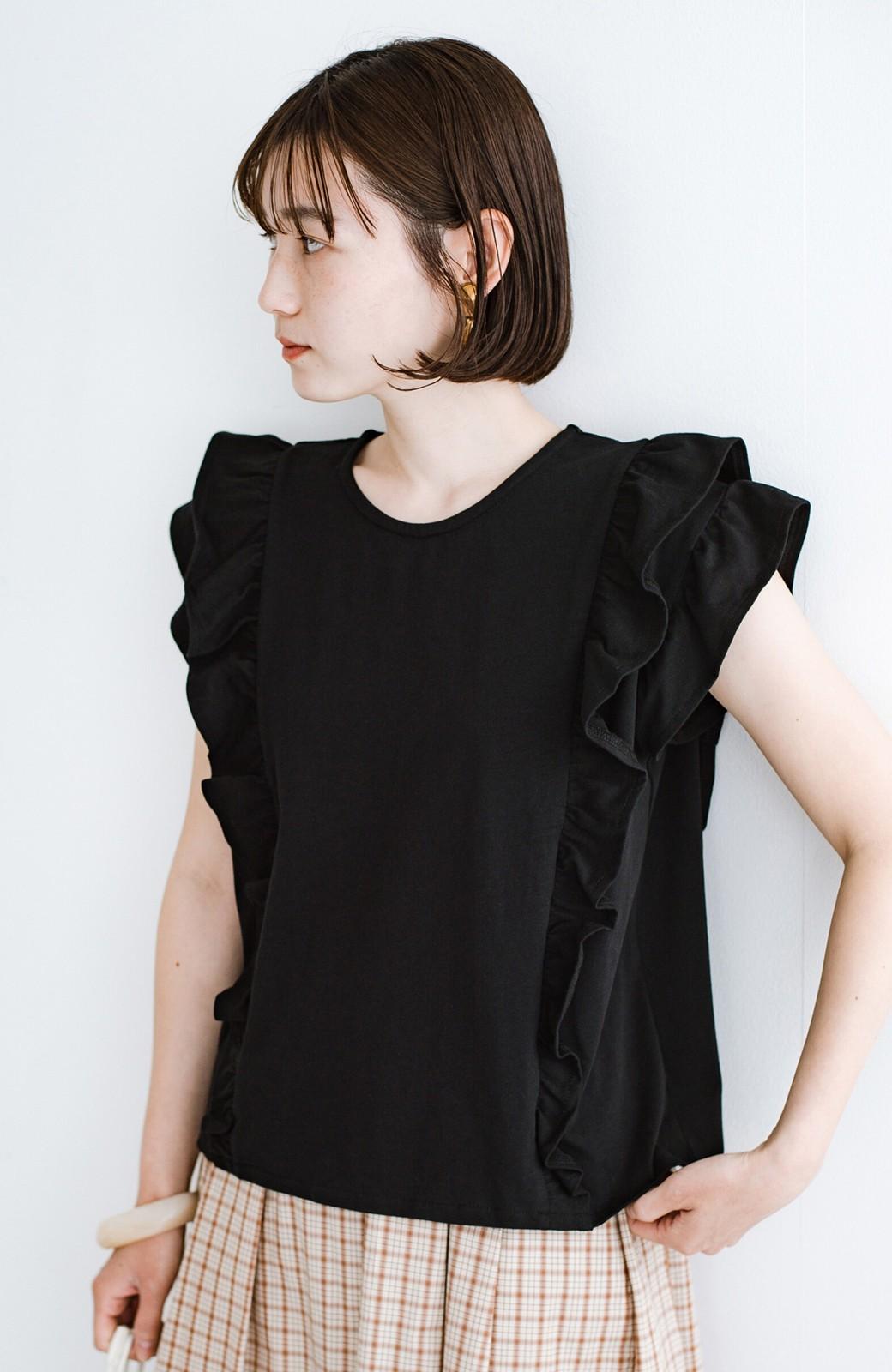 haco! (φ)顔周りぱっと華やか!Tシャツ感覚で着られて便利なフリルカットソートップス <ブラック>の商品写真19