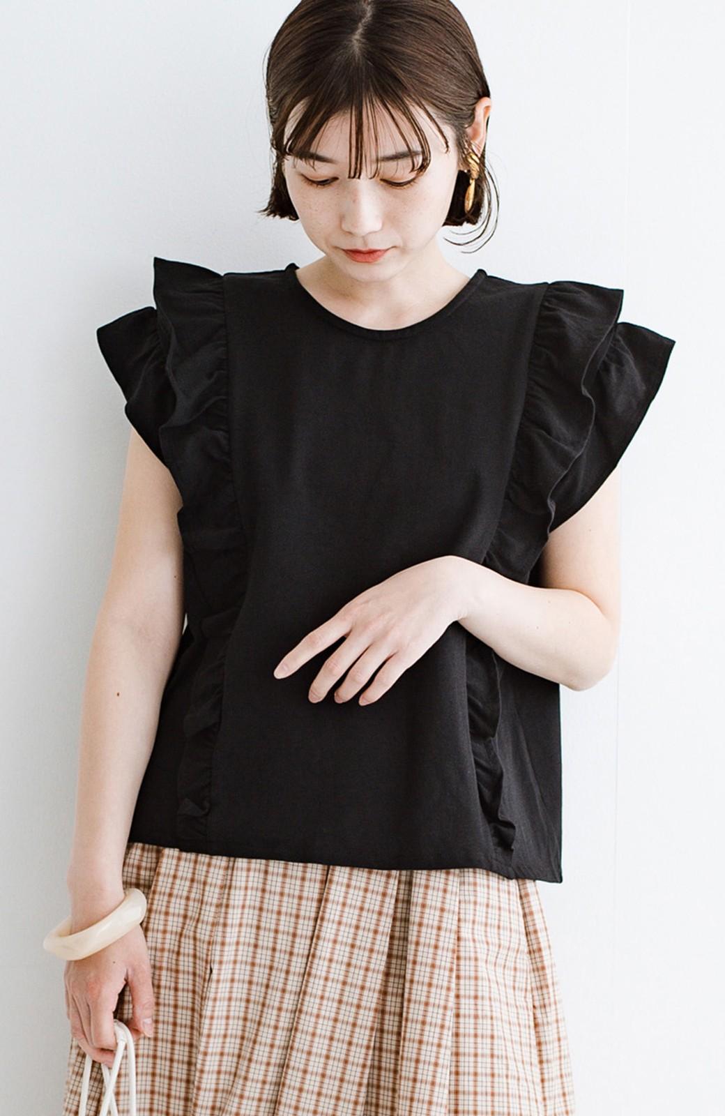 haco! (φ)顔周りぱっと華やか!Tシャツ感覚で着られて便利なフリルカットソートップス <ブラック>の商品写真18