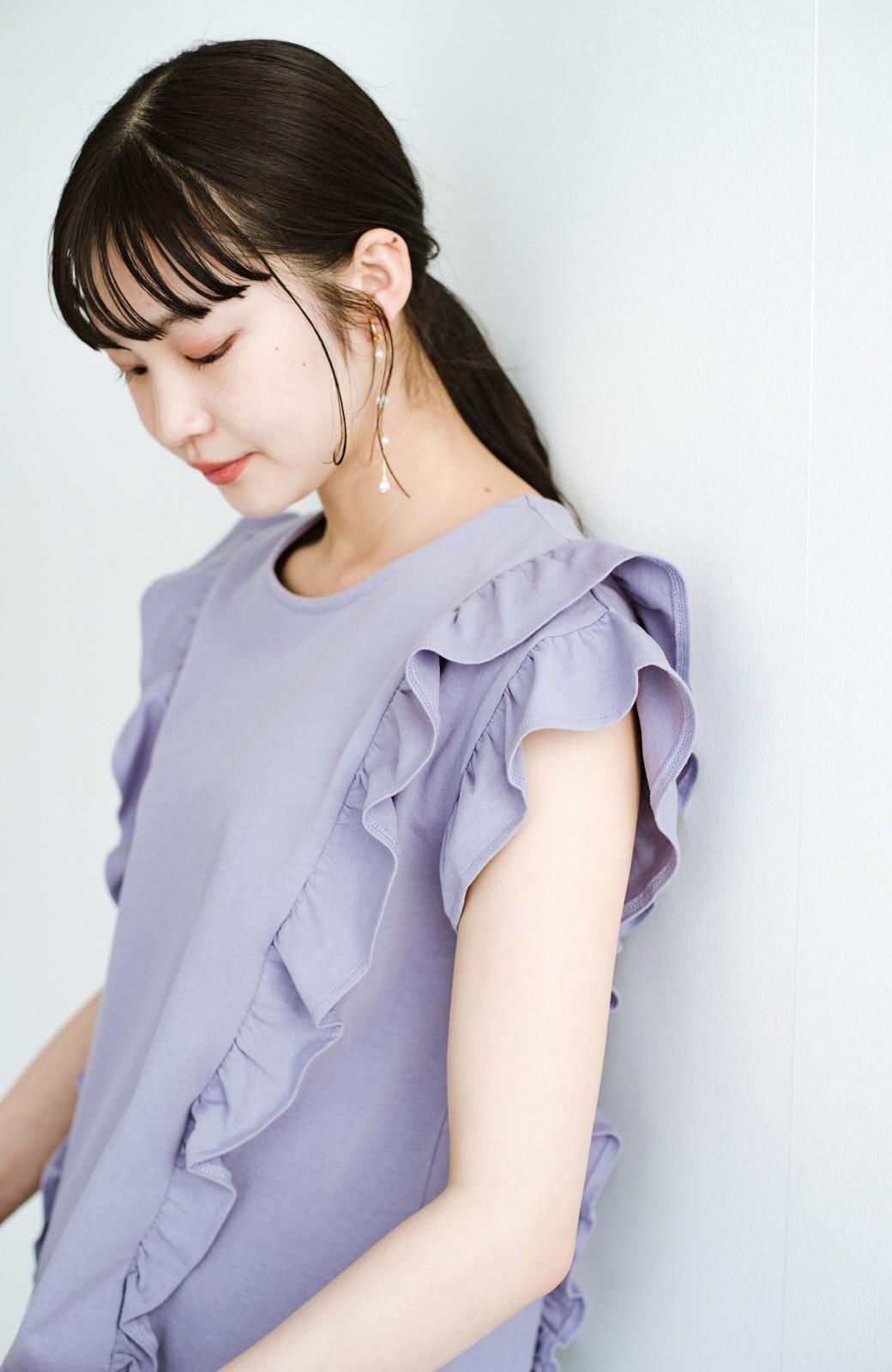 haco! (φ)顔周りぱっと華やか!Tシャツ感覚で着られて便利なフリルカットソートップス <ラベンダー>の商品写真7