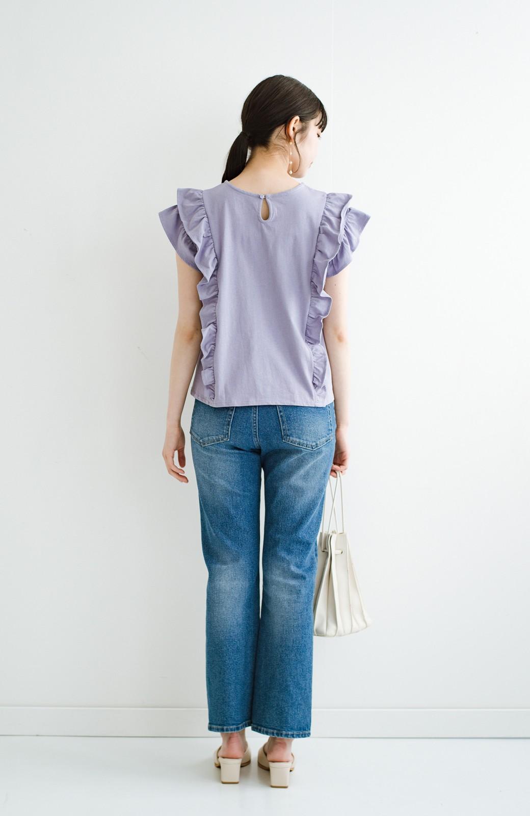 haco! (φ)顔周りぱっと華やか!Tシャツ感覚で着られて便利なフリルカットソートップス <ラベンダー>の商品写真16