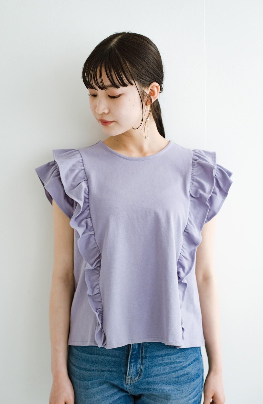 haco! (φ)顔周りぱっと華やか!Tシャツ感覚で着られて便利なフリルカットソートップス <ラベンダー>の商品写真10