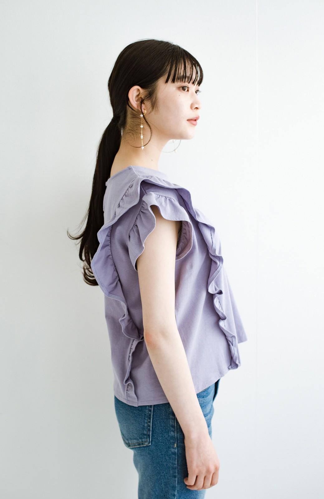 haco! (φ)顔周りぱっと華やか!Tシャツ感覚で着られて便利なフリルカットソートップス <ラベンダー>の商品写真17