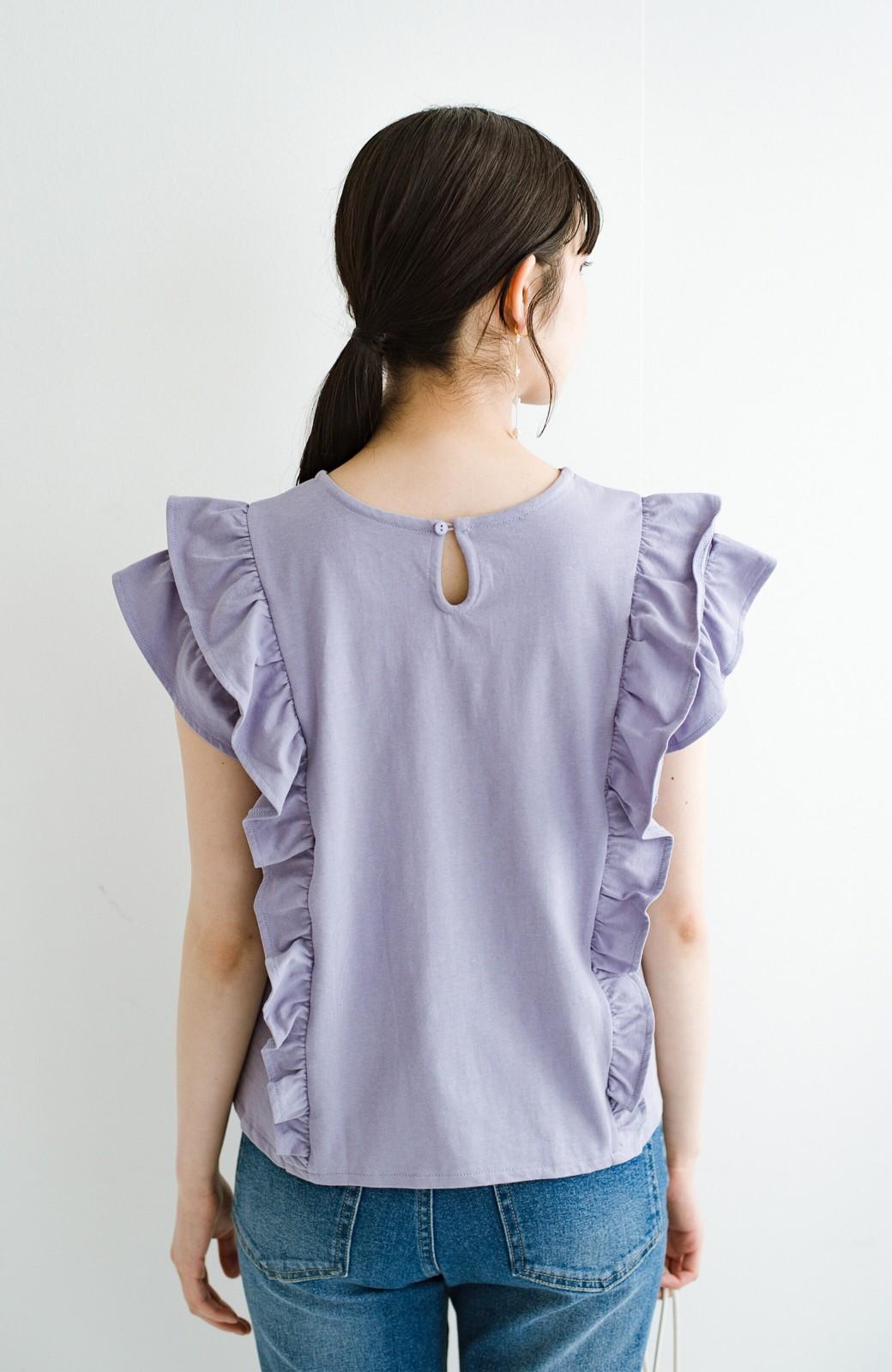 haco! (φ)顔周りぱっと華やか!Tシャツ感覚で着られて便利なフリルカットソートップス <ラベンダー>の商品写真18