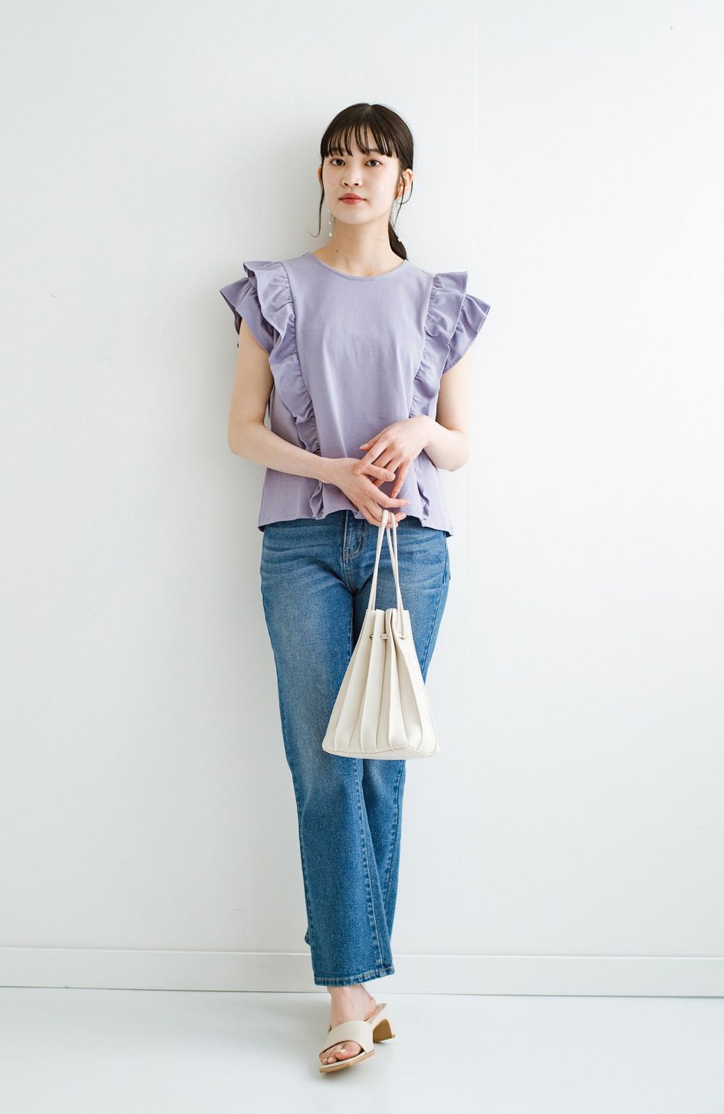 haco! (φ)顔周りぱっと華やか!Tシャツ感覚で着られて便利なフリルカットソートップス <ラベンダー>の商品写真13