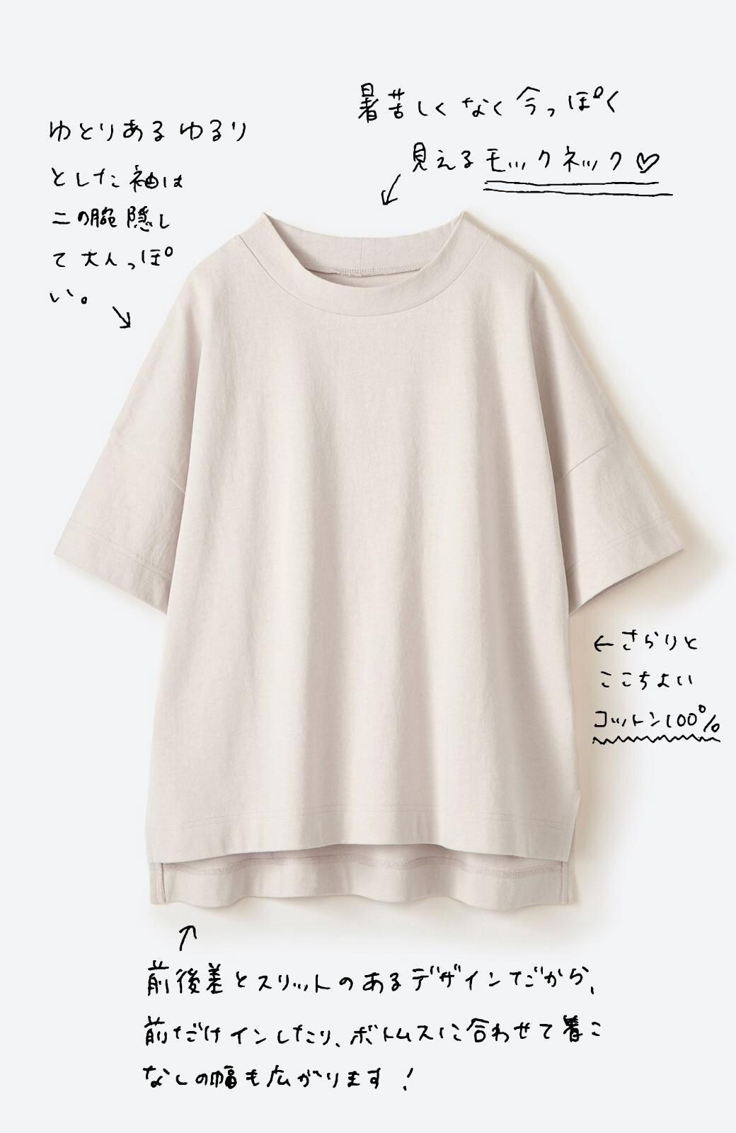 haco! じゃぶじゃぶ洗えて毎日づかいに便利!コーデに迷わず便利なモックネックTシャツ <ベージュ>の商品写真2
