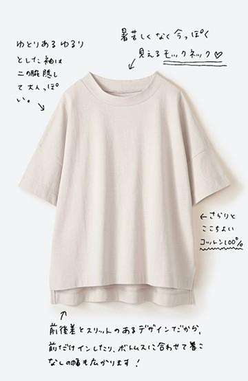 haco! じゃぶじゃぶ洗えて毎日づかいに便利!コーデに迷わず便利なモックネックTシャツ <ベージュ>の商品写真
