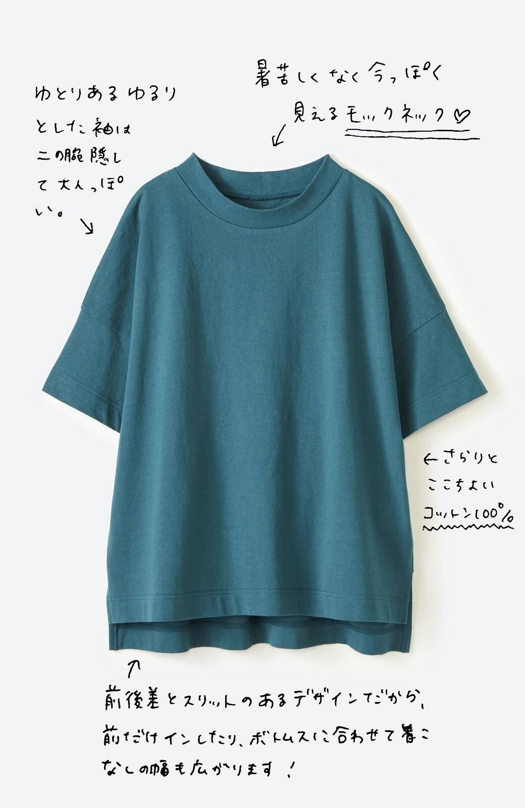 haco! じゃぶじゃぶ洗えて毎日づかいに便利!コーデに迷わず便利なモックネックTシャツ <ブルー>の商品写真2