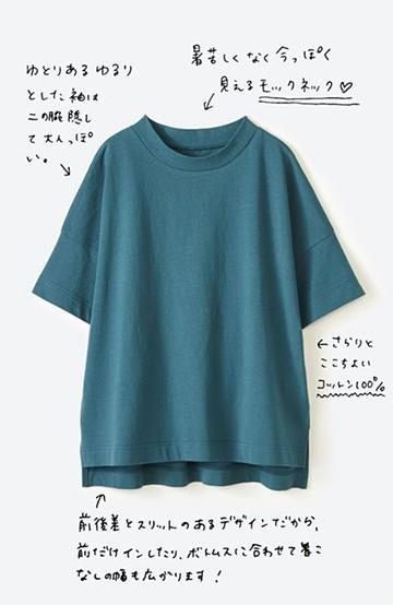haco! じゃぶじゃぶ洗えて毎日づかいに便利!コーデに迷わず便利なモックネックTシャツ <ブルー>の商品写真