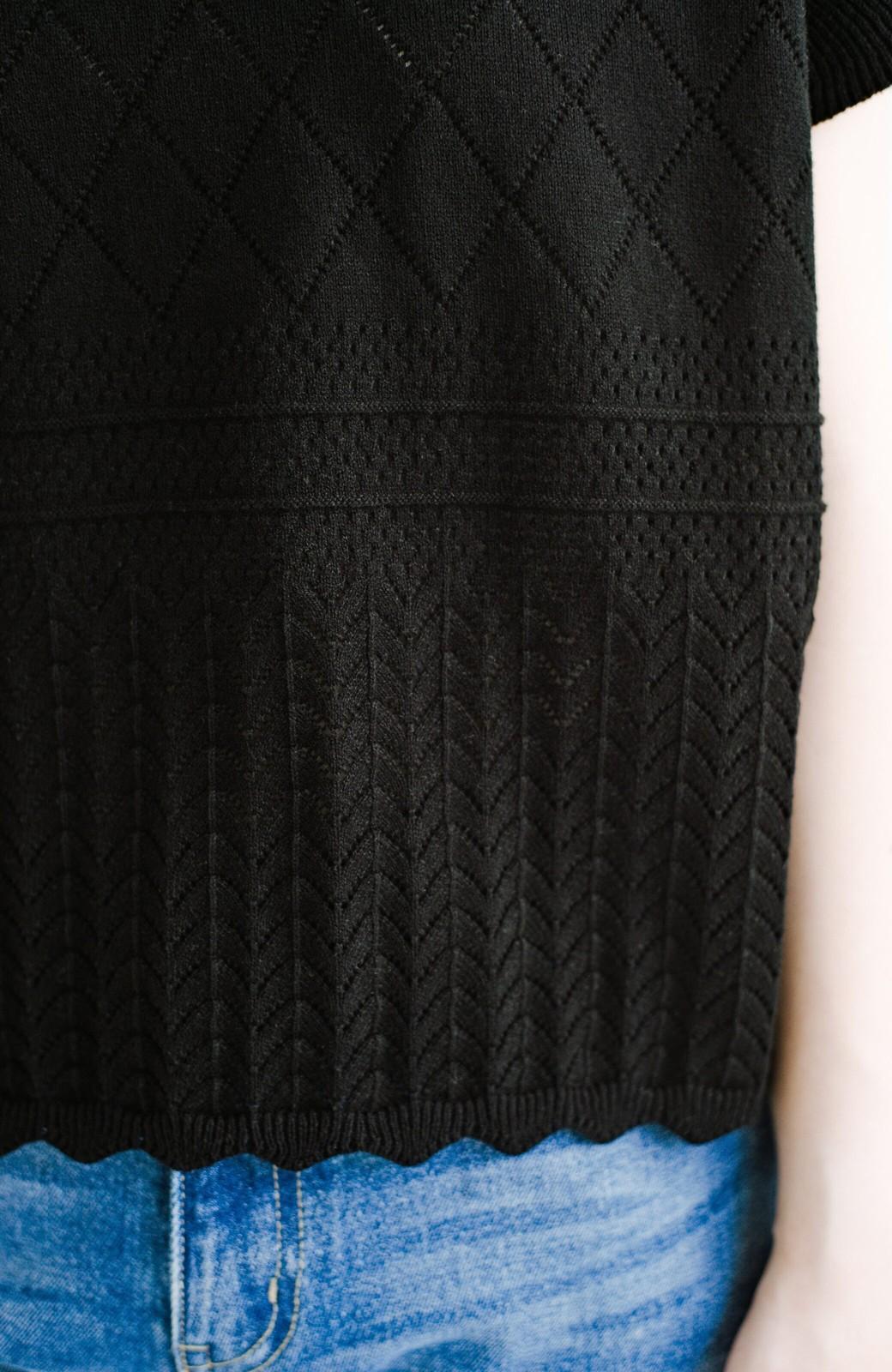 haco! (φ)透けすぎないから安心して着られる 華やか透かし編みニットトップス <ブラック>の商品写真11