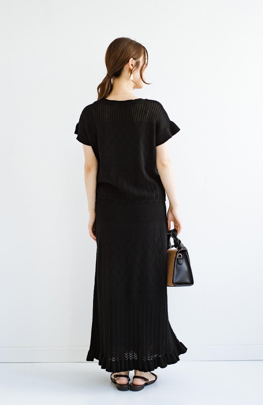 haco! (φ)透けすぎないから安心して着られる 華やか透かし編みニットトップス <ブラック>の商品写真17