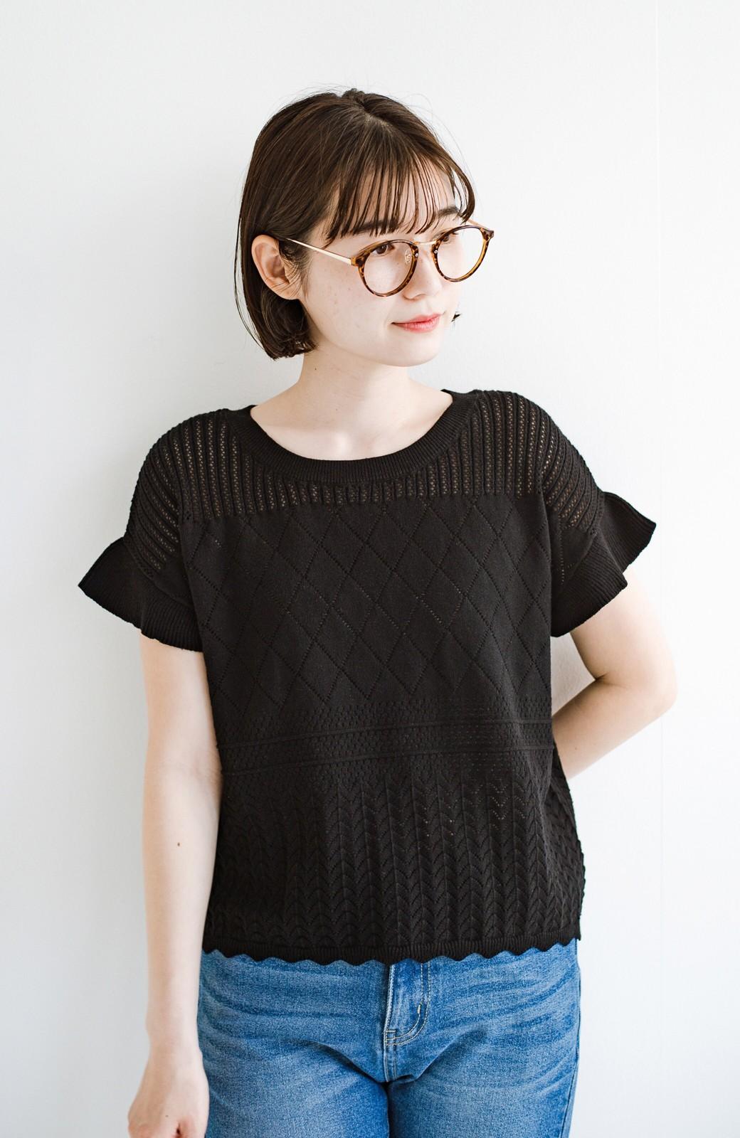 haco! (φ)透けすぎないから安心して着られる 華やか透かし編みニットトップス <ブラック>の商品写真24