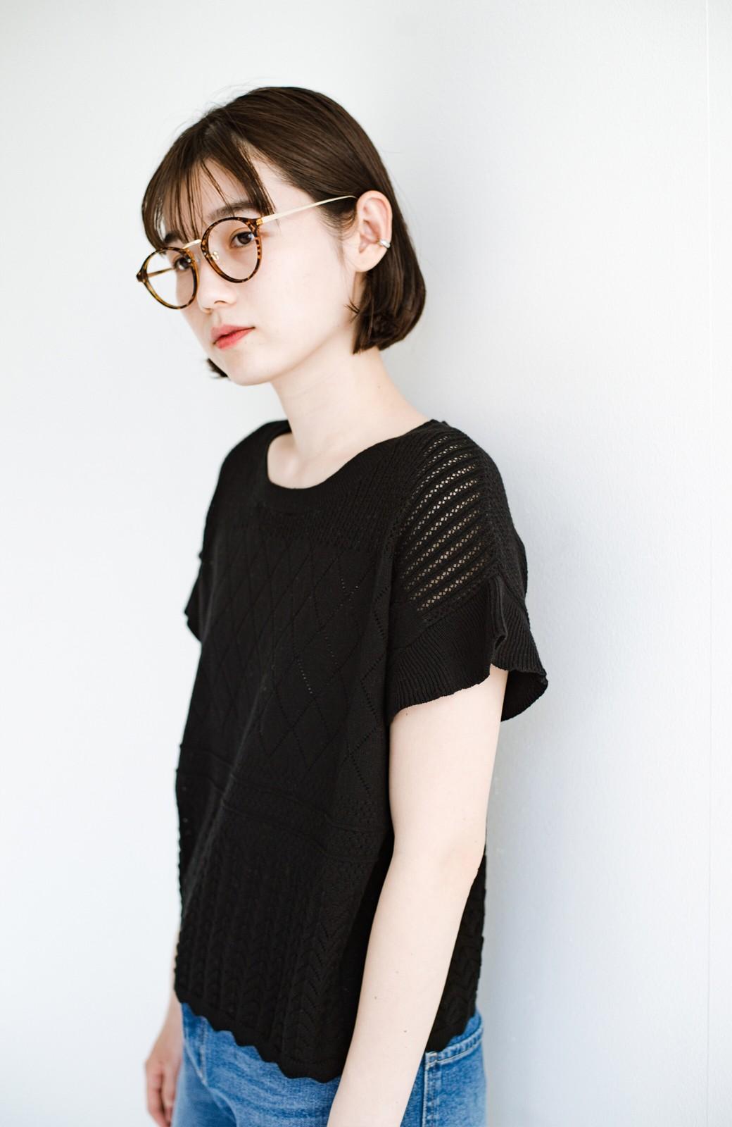 haco! (φ)透けすぎないから安心して着られる 華やか透かし編みニットトップス <ブラック>の商品写真12
