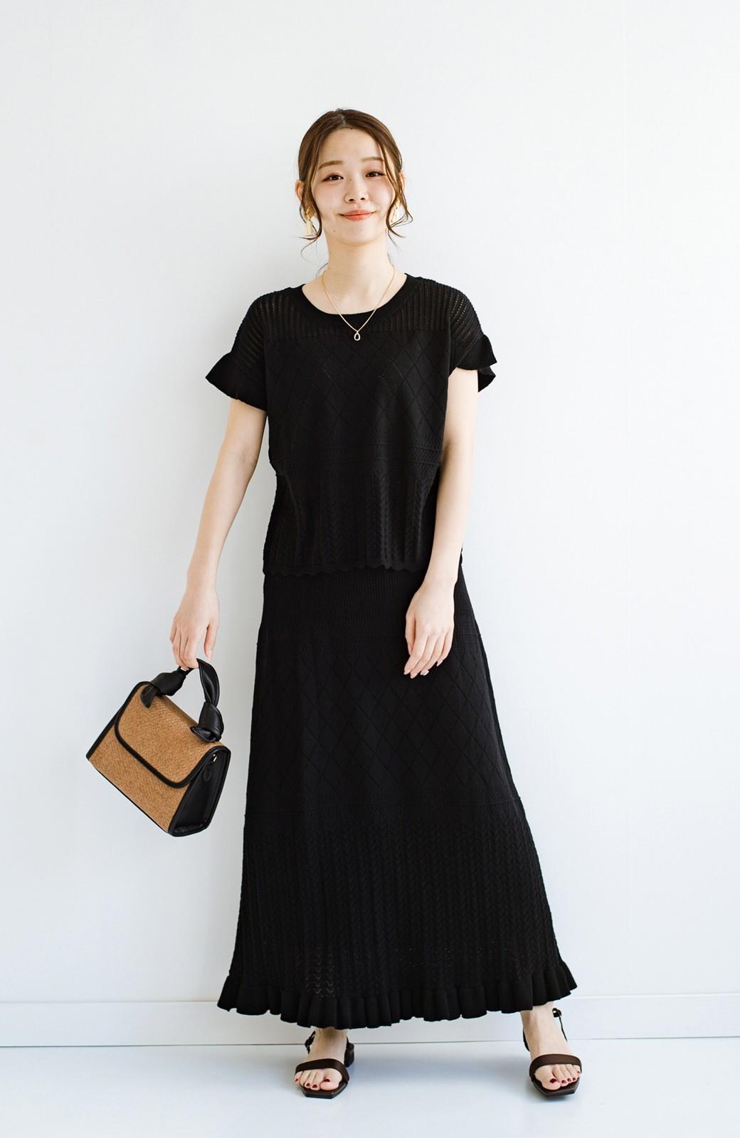 haco! (φ)透けすぎないから安心して着られる 華やか透かし編みニットトップス <ブラック>の商品写真16