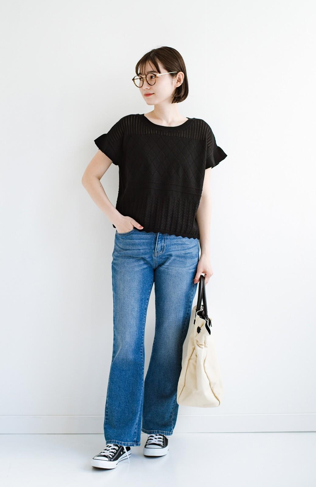 haco! (φ)透けすぎないから安心して着られる 華やか透かし編みニットトップス <ブラック>の商品写真13