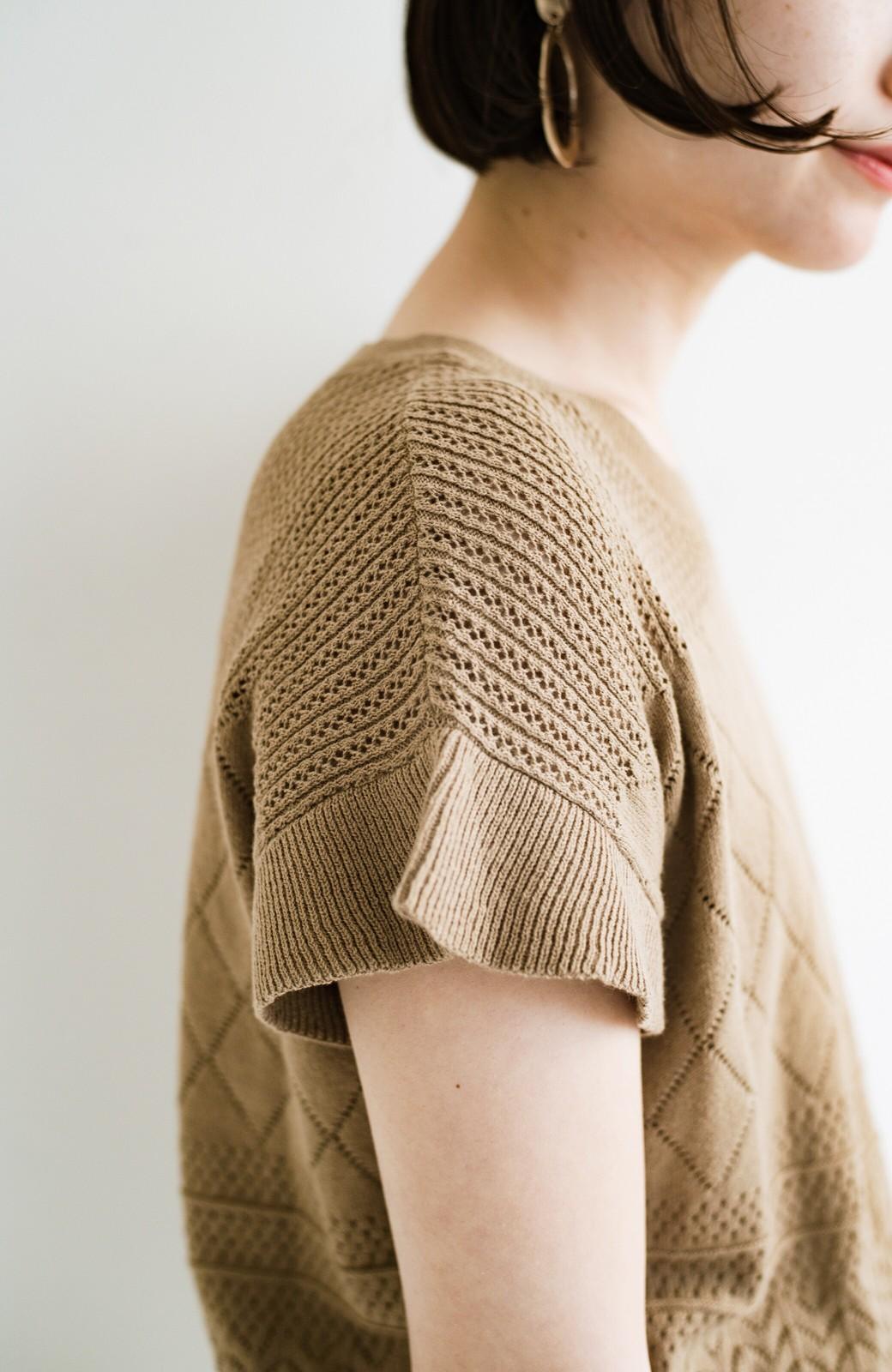 haco! (φ)透けすぎないから安心して着られる 華やか透かし編みニットトップス <カーキブラウン>の商品写真10