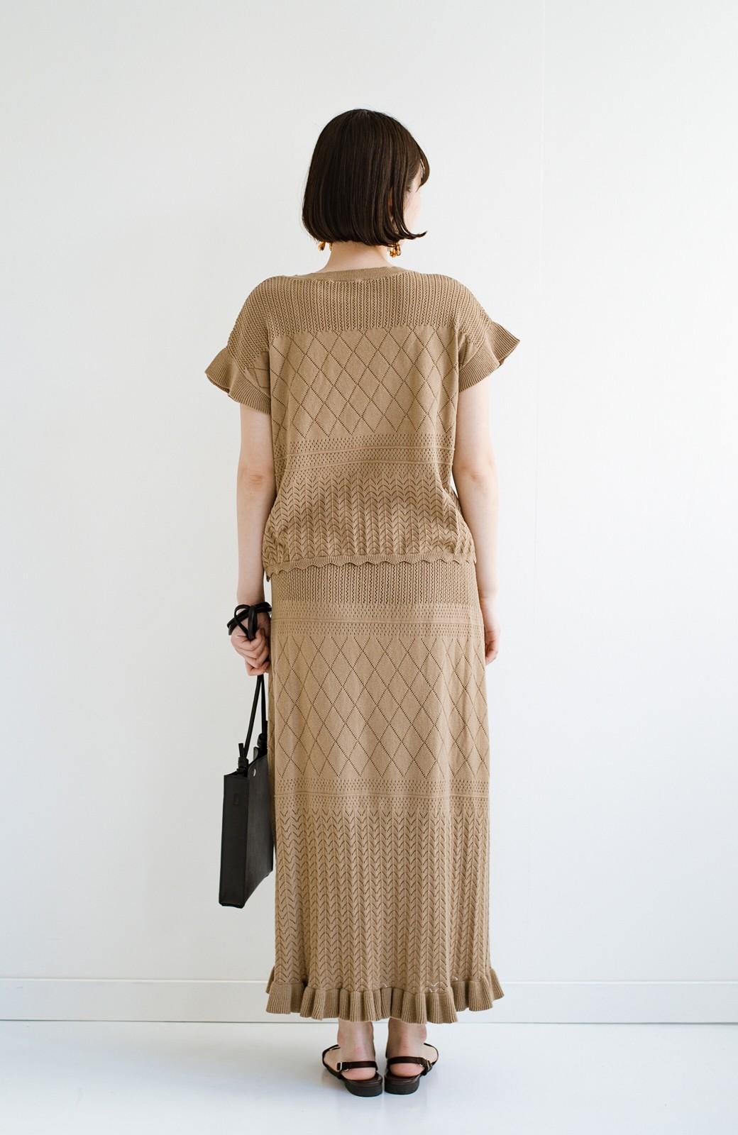 haco! (φ)透けすぎないから安心して着られる 華やか透かし編みニットトップス <カーキブラウン>の商品写真18